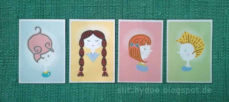 Stickkarten / sewing cards, stitching cards
