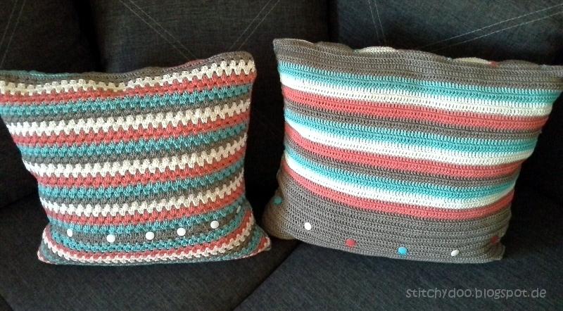 Häkelkissen Rückseite / triangle crochet pillow / granny square cushion - back