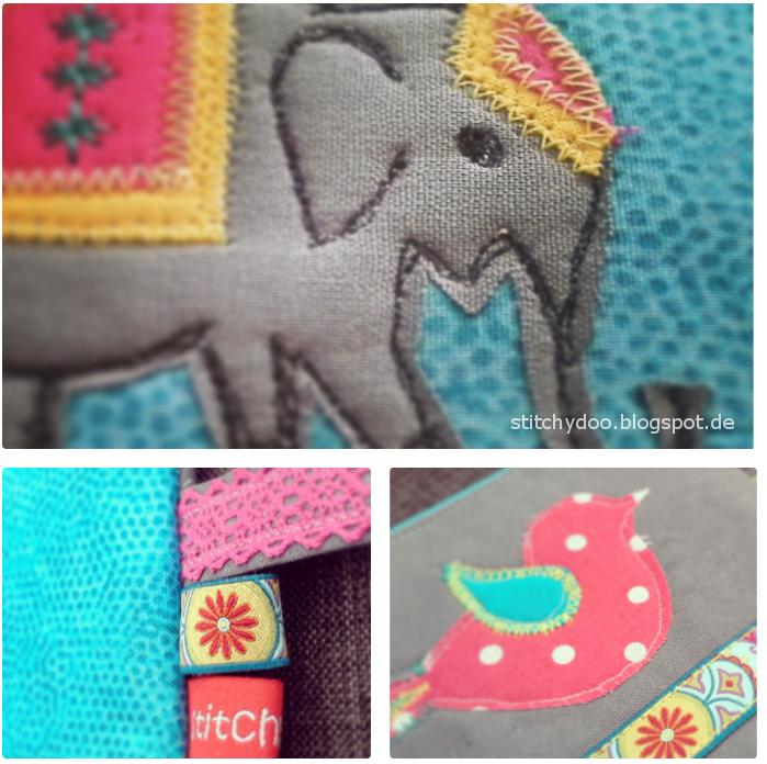 Applikationen, Elefant und Vogel für Kramtasche | elephant and bird applique, zipper pouche