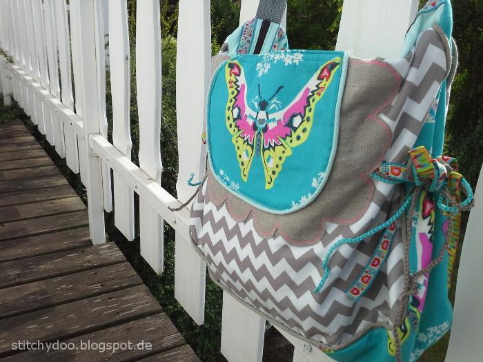 Florabella Tasche türkis/grau/natur Chevron / Florabella bag pattern by jolijou