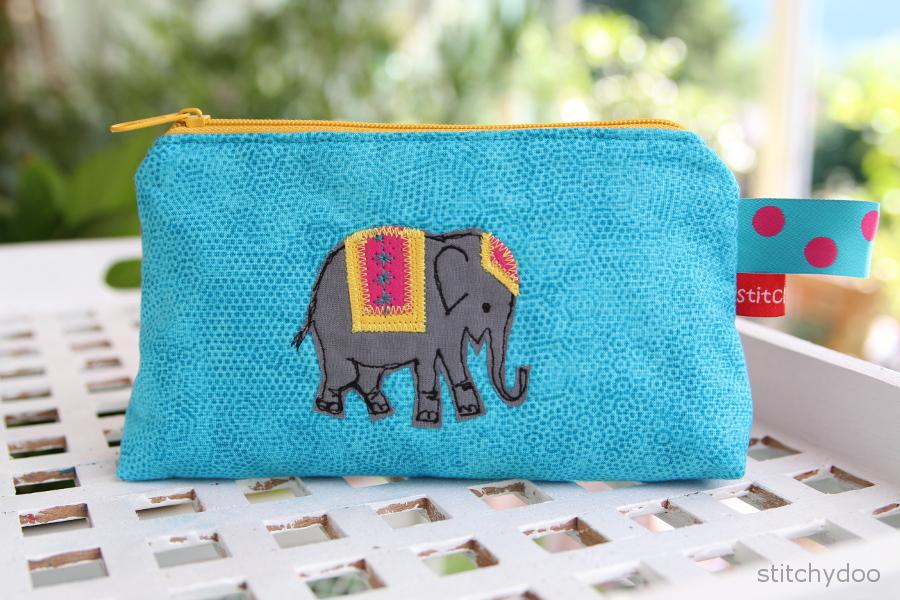 Kosmetiktäschchen mit Elefant-Appliktation | makeup zipper pouche with elephant applique