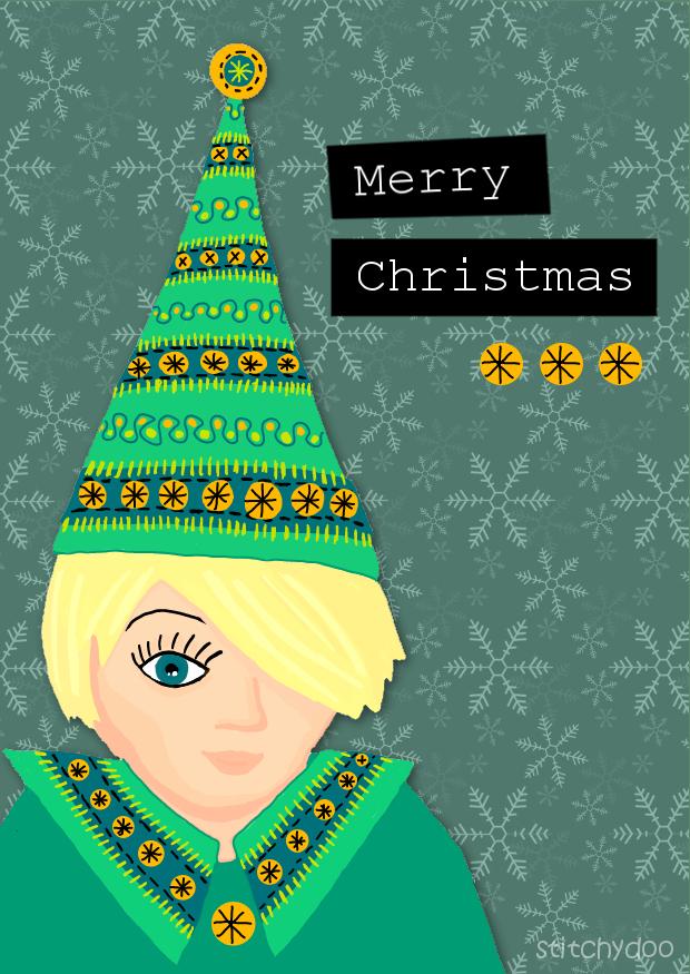 Digitale Kritzeleien | Wichtel Weihnachtskarte - Illustration am Tablet PC
