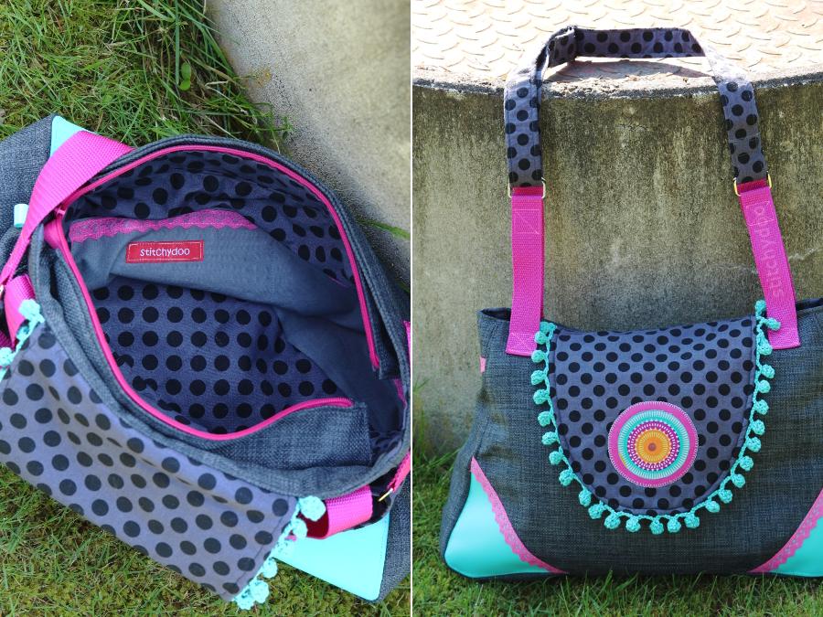 Taschenspieler 2 Sew Along | Klappentasche von stitchydoo in pink türkis und grau mit Häkelborte