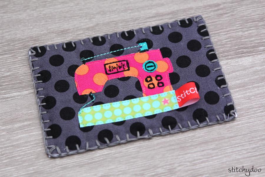 stitchydoo: Stoffkartentausch | Meine genähten Karten im November - Nähmaschinen-Applikation