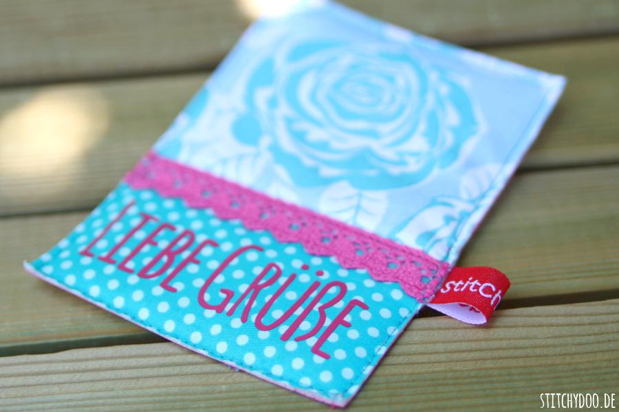"""stitchydoo: Stoffkarte """"Liebe Grüße"""""""