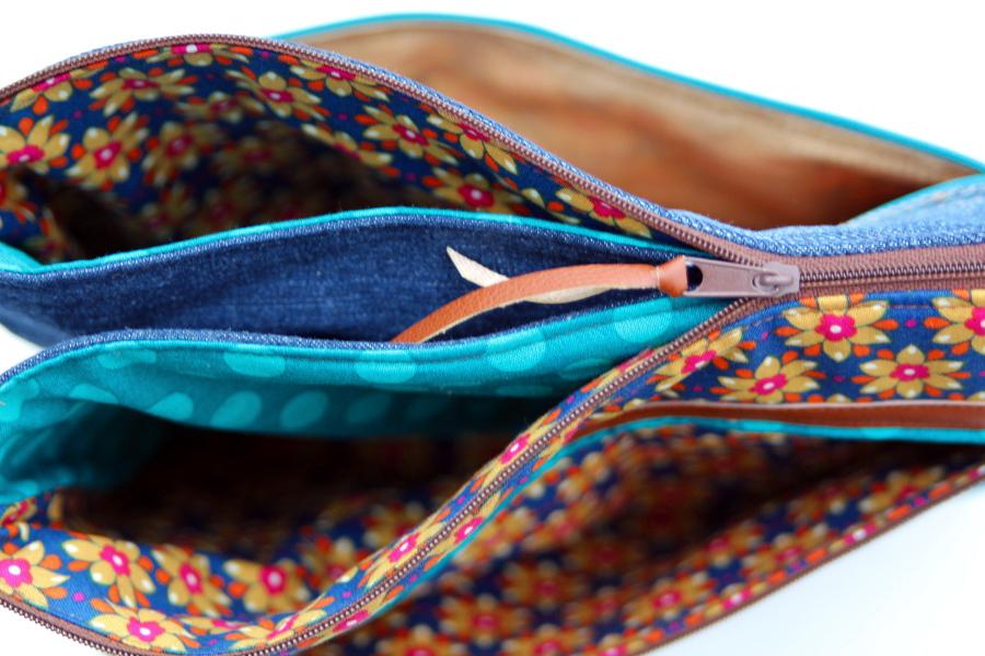 stitchydoo: Fünf-Fach-Tasche | Retroblümchen & Jeansrecycling | farbenmix-Adventskalender 2015