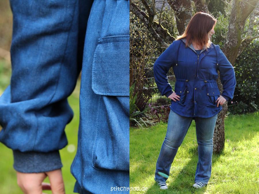 stitchydoo: Wind & Wetter Parka aus blauem Tencel-Chambray in Jeansblau mit Ärmelbündchen und Tunnelzug in der Kapuze