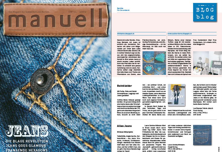 """stitchydoo: Mount Denim ade! im Schweizer Magazin """"manuell"""" zum Thema Jeans"""