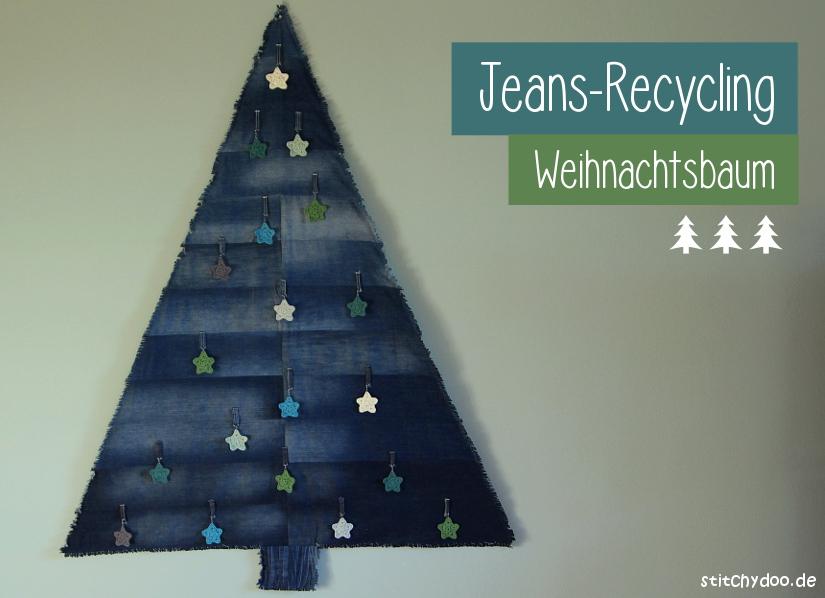 stitchydoo: Jeans-Recycling Weihnachtsbaum - Denimtanne mit Häkelsternen als Anhänger