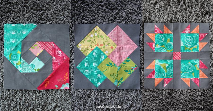 stitchydoo: 6 Köpfe - 12 Blöcke Quilt Along - Snail's Trail, Card Trick und Bears Paw Patchwork Blöcke