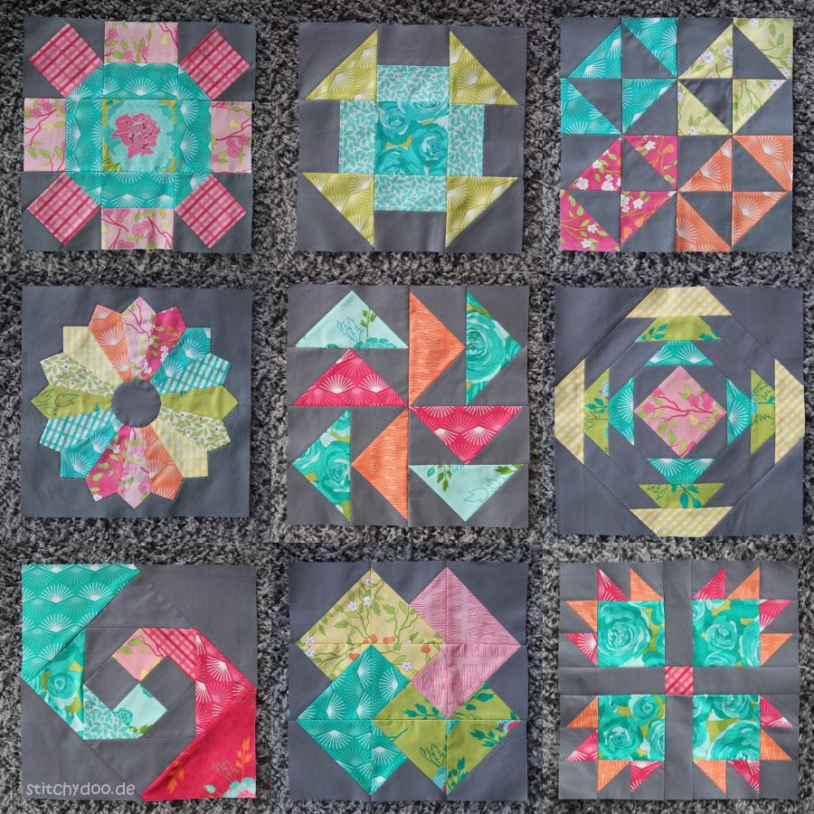 stitchydoo: 6 Köpfe - 12 Blöcke Quilt Along - Alle neun Patchworkblöcke des Sampler Quilts m Oktober