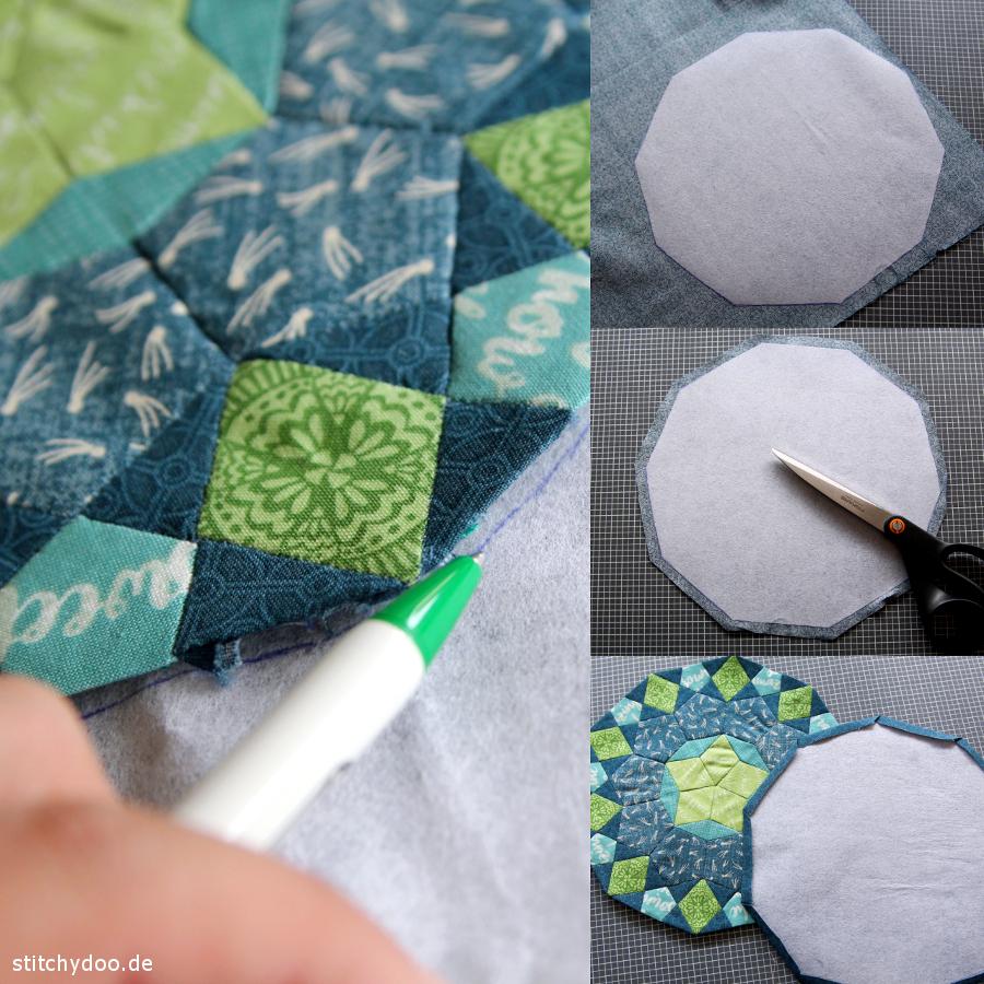 stitchydoo: La Passacaglia Mini - English Paper Piecing Untersetzer - Rückseite nähen