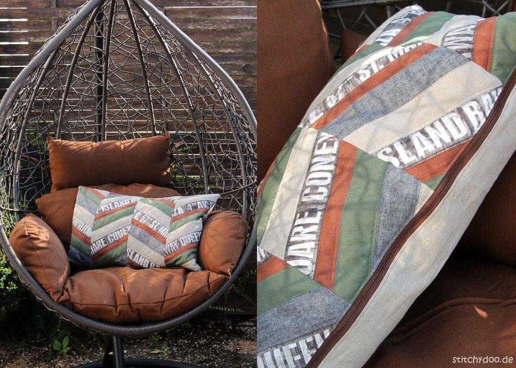 stitchydoo: Herringbone Patchwork-Kissen in Naturtönen