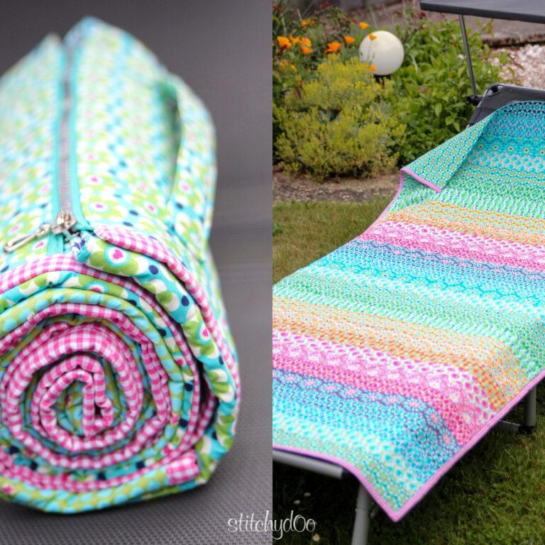 stitchydoo: Liegewiese - Regenbogenquilt als Auflage für die Sonnenliege