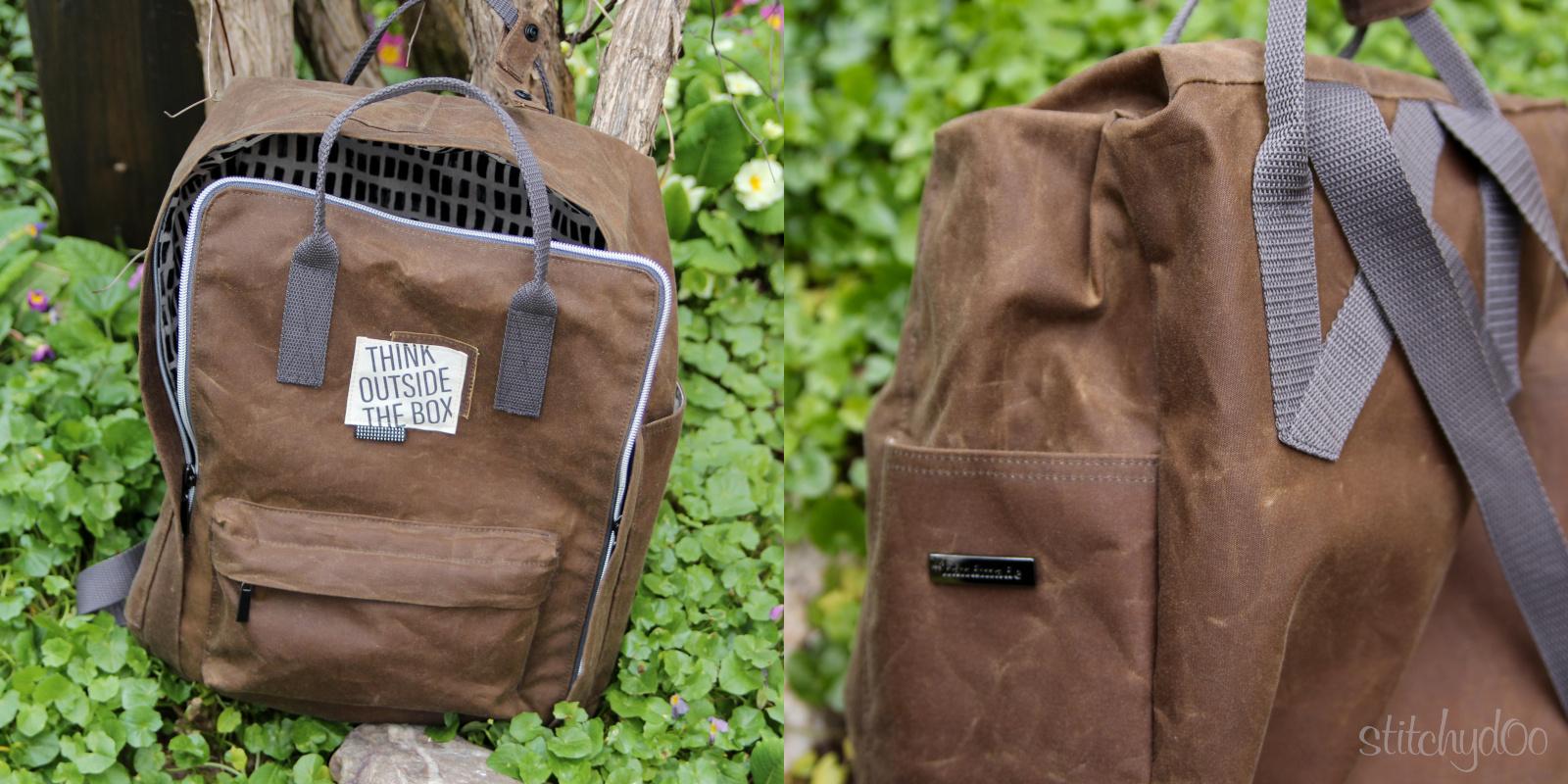 Der andere Rucksack aus Oilskin mit Handmade Label